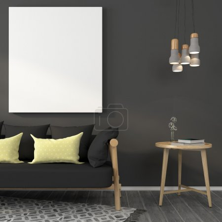 Mock up in gray living room with wooden furniture