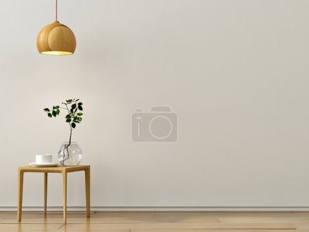 Photo for Lightwaight composition of stylish wooden table and a chandelier  near a white wall - Royalty Free Image