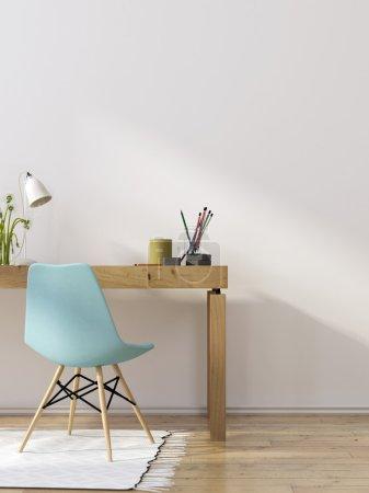 Photo pour Intérieur moderne du lieu de travail avec une table en bois massif et une chaise bleue - image libre de droit