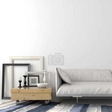 Photo pour Salon moderne avec un canapé en cuir et une table basse en bois clair - image libre de droit