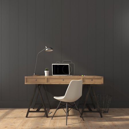 Photo for Wooden desk and modern chair against a gray wall - Royalty Free Image