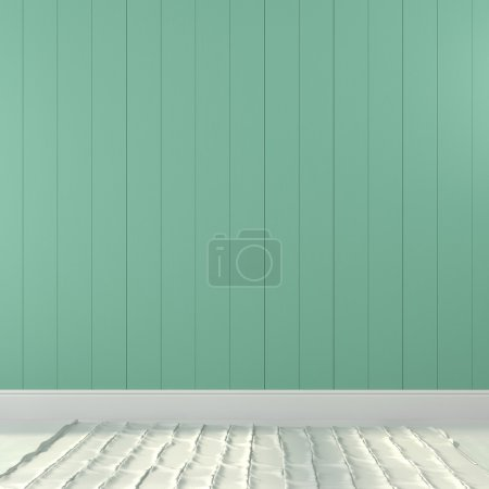 Photo for Interior background of turquoise wall and a light floor - Royalty Free Image