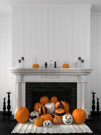 Photo pour Belle cheminée blanche dans le style classique contre un mur blanc et décorée avec des citrouilles peintes - image libre de droit
