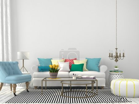 Photo for White interior of living room with colorful pillows - Royalty Free Image