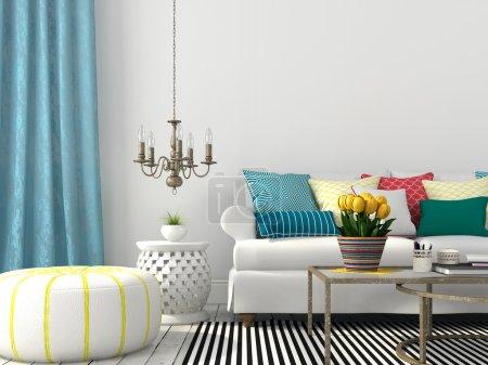 Photo pour Intérieur blanc du salon avec oreillers colorés et rideau bleu - image libre de droit