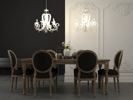 Photo for Dining table and beautiful white chandelier against a plain background gray and classic white wall - Royalty Free Image