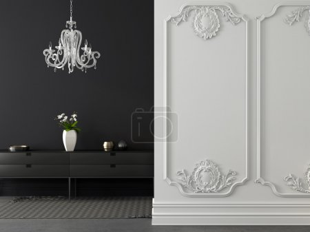 Photo for Classic gray and white interior with a chandelier in the background of gray wall and dresser - Royalty Free Image