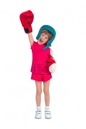 Boy in boxing outfit
