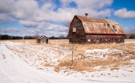 farm field forgotten barn decaying agricultural