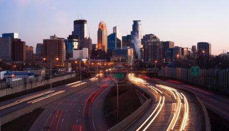 Rush Hour Traffic Elevated Freeway Sunrise Minneapolis Minnesota