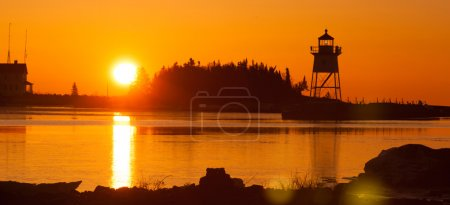 Morgen Licht Hafen Grand Marais Leuchtturm Lake Superior Minne