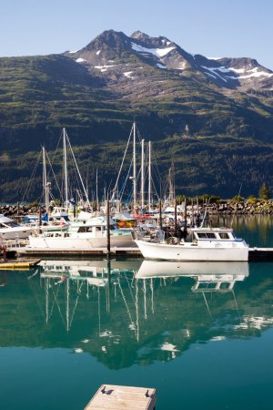 Motorboats Yachts  Sailboats Port Harbor Marina Whittier Alaska