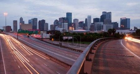 Houston Texas Downtown City Skyline Urban Landscape Highway Over