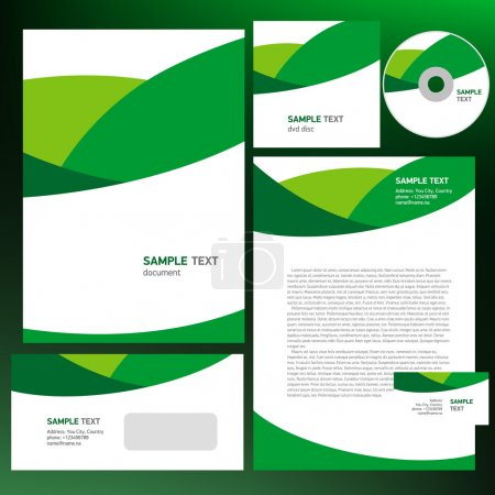 Illustration for Abstract creative corporate identity line wave green - Royalty Free Image