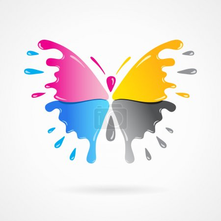 butterfly colored cmyk print splash