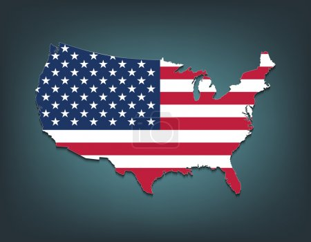 United States map with flag style
