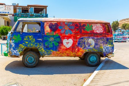 Hippie-Bus from the Hippie Festival in Matala