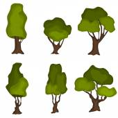 Set of abstract stylized trees. Natural trees vector.