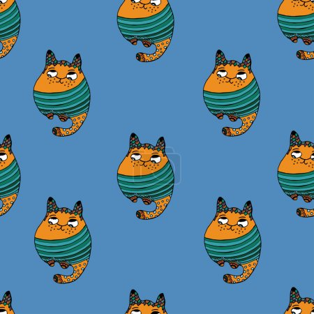 Seamless pattern with hipster cute cats vector illustration.