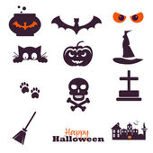 Collection of 12 Happy Halloween icons Vector illustration Set of elements for design