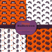 Set of abstract halloween backgrounds Collection of seamless patterns in the traditional holiday colors Endless texture can be used for wallpaper pattern fills web pagebackgroundsurface