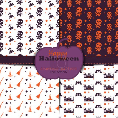 Set of abstract halloween backgrounds. Collection of seamless patterns in the traditional holiday colors. Endless texture can be used for wallpaper, pattern fills, web page,background,surface