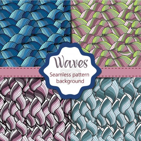 Seamless abstract hand-drawn pattern, waves background. Seamless pattern can be used for wallpaper, pattern fills, web page back