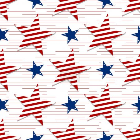 Seamless pattern of stars on white background.4th July. Stars and stripes wallpaper