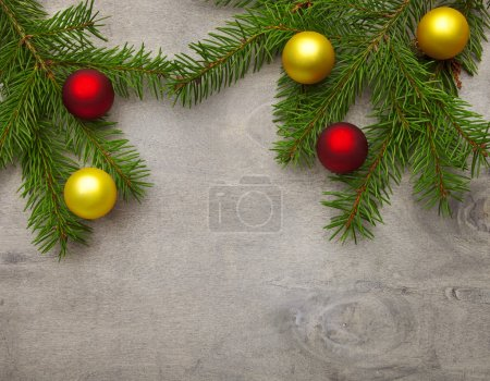 Wood background with christmas decoration