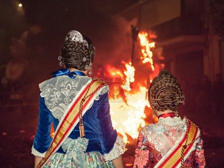Crema in Fallas of Valencia on March 19 night all figures are bu
