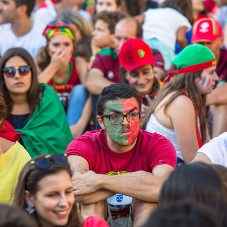 Portuguese fans during  football match