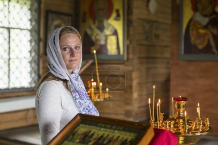 Young woman within Church