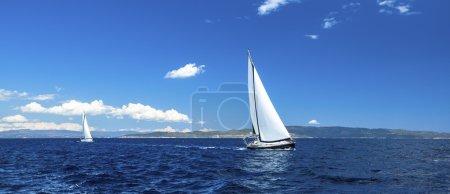 Panorama of sailing regatta.