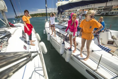 Sailors participate in sailing regatta