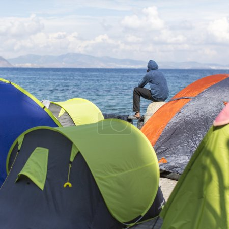 Tents war refugees in the port of Kos