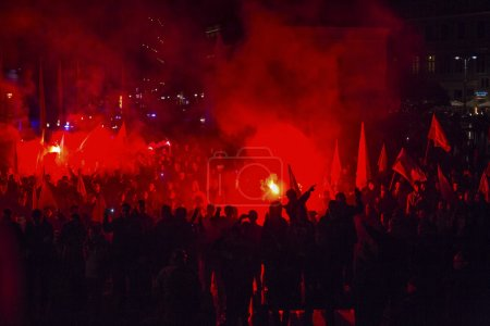 Nationalists protest in center of Krakow.
