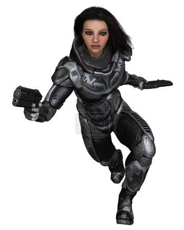 Future Soldier, Female Brunette, Running Forward