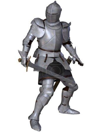 Photo pour Chevalier médiéval tardif du XVe siècle dans le nord de l'Italie milanaise Armure avec épée, debout dans une pose de combat, illustration numérique 3D - image libre de droit