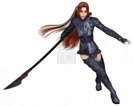 Photo for Fantasy illustration of a red-haired warrior elf woman wearing dragon scale armour and fighting with a lance or spear, 3d digitally rendered illustration - Royalty Free Image