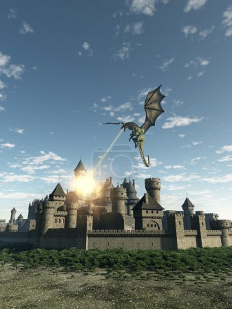 Photo for Fantasy illustration of a dragon making a fiery attack on a Medieval walled city, 3d digitally rendered illustration - Royalty Free Image