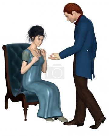Photo for Illustration of a regency period (late 18th to early 19th century) man wearing a blue frock coat and woman wearing a blue dress, sitting on a velvet chair, 3d digitally rendered illustration - Royalty Free Image