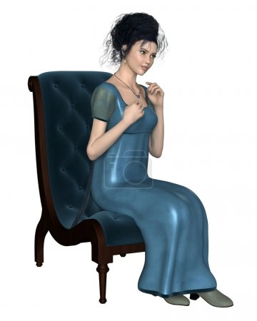 Photo for Illustration of a regency period (late 18th to early 19th century) woman wearing a blue dress, sitting on a velvet chair, 3d digitally rendered illustration - Royalty Free Image