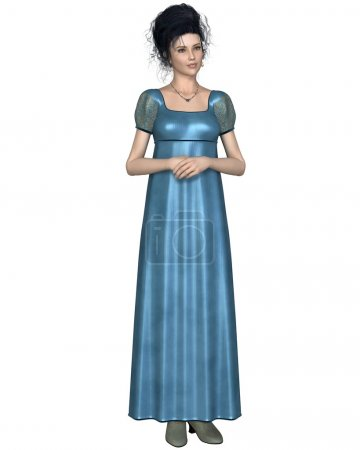 Photo for Illustration of a regency period (late 18th to early 19th century) woman wearing a blue dress, standing with her hands folded, 3d digitally rendered illustration - Royalty Free Image