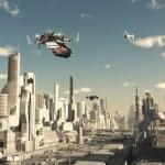 Постер, плакат: Scout Ship Landing in a Future City
