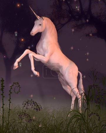 Unicorn in a Moonlit Forest Glade