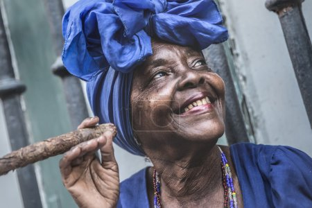 woman smoking cigar in Havana