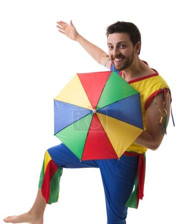 Brazilian man dancing Frevo