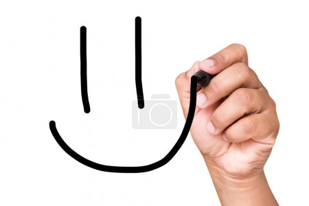 hand writing smile sign