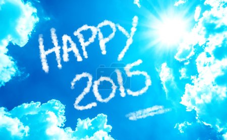 Happy 2015 written on a beautiful sky