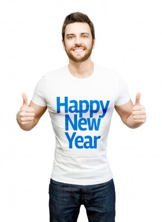 """Happy model on white tshirt showing the message """"Happy New Year"""""""
